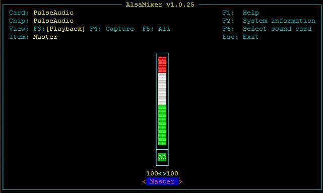 alsamixer on a Raspberry Pi